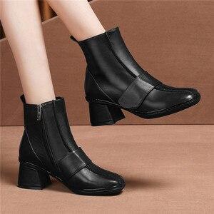 Image 5 - FEDONAS 2020 秋冬暖かい女性の膝のブーツ牛パテントレザーニットロングブーツ乗馬ブーツパーティー靴女性
