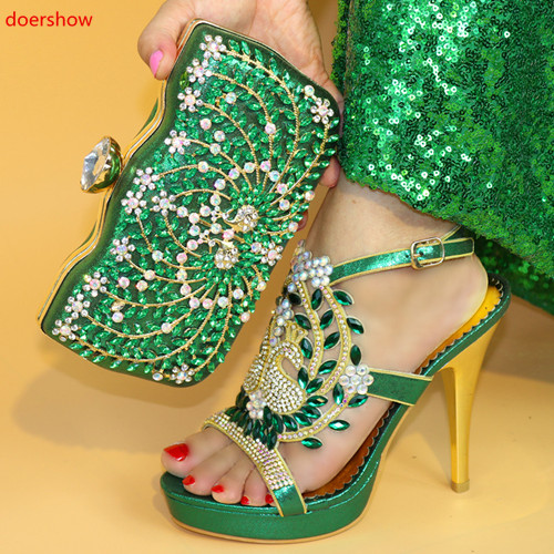 doershow Italian green Shoes and Bags To Match Set Nigerian Shoes and Matching Bag African Wedding Shoes and Bag Set PAB1-32 doershow new arrival shoes and bag to match italian summer african style shoes and bag set italy ladies shoes and bag as1 33