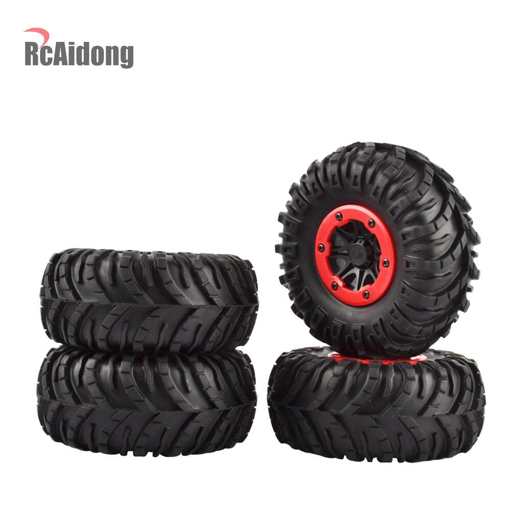 4PCS 2 2 Rubber Wheel Tires Beadlock Wheel Rims for Axial SCX10 90053 AX10 Wraith RR10