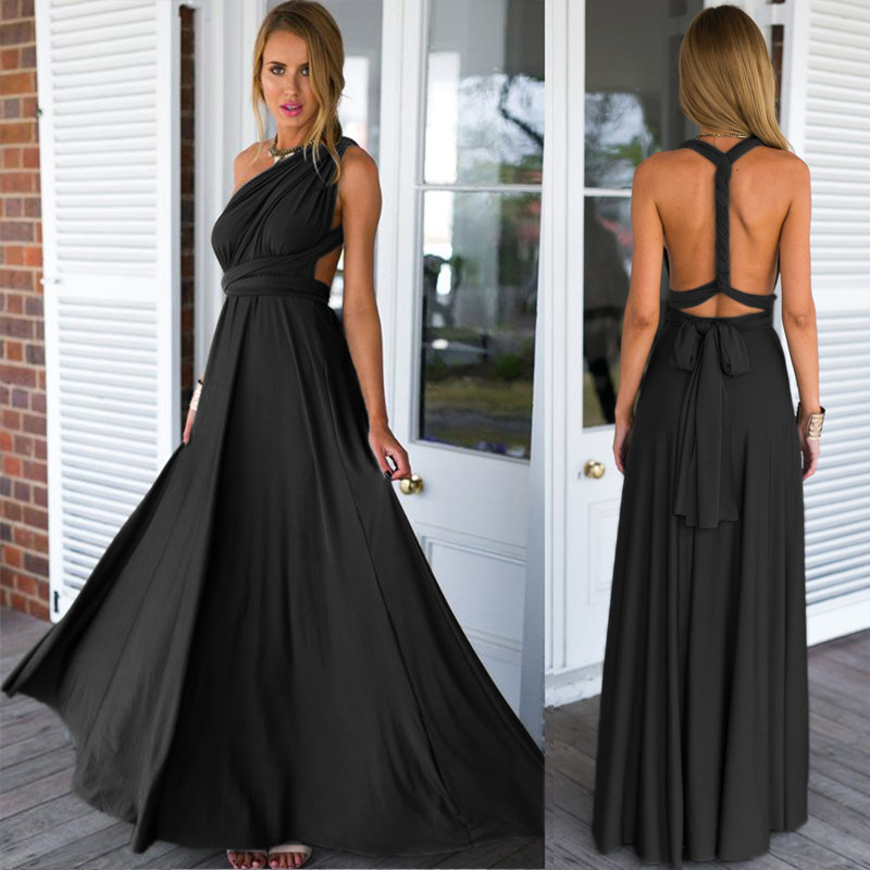 Mode Frauen Sexy Lange Party Kleid Club Boden-Länge Sommer Maxi ...