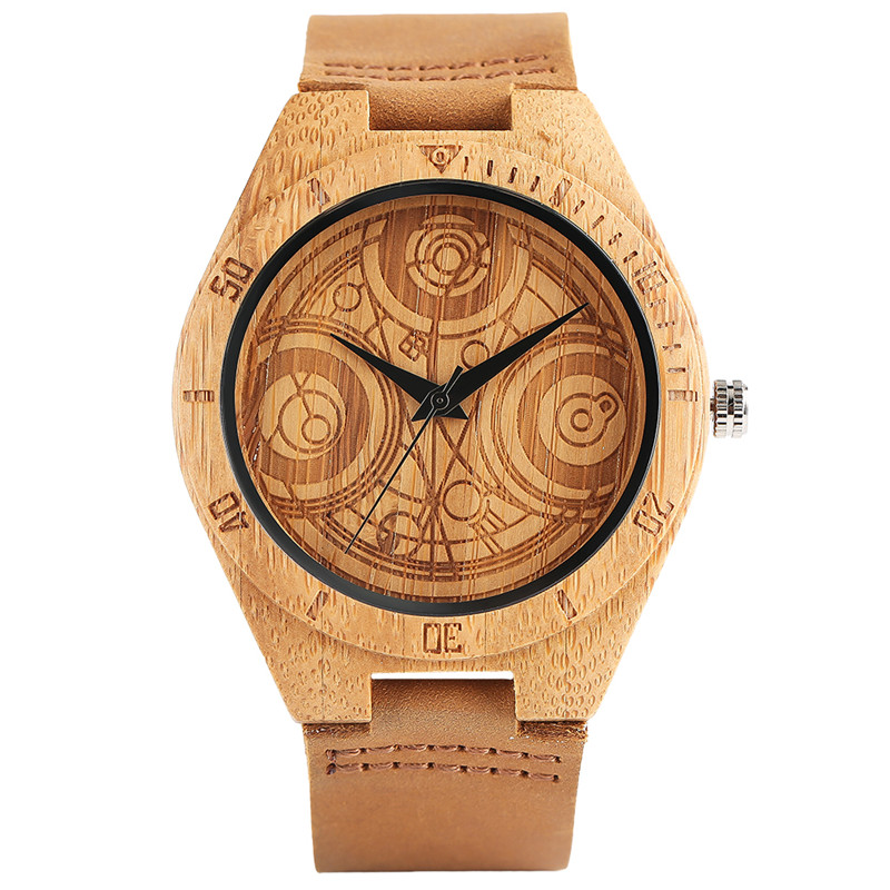 Hand-made Bamboo Watch for Men Quartz Doctor Who Design Dial Genuine Leather Watchband Cool Creative Wooden Wristwatch Gift Male unique hand made wood watch black genuine leather band brown wooden case quartz wristwatch for men beet gift reloj de madera