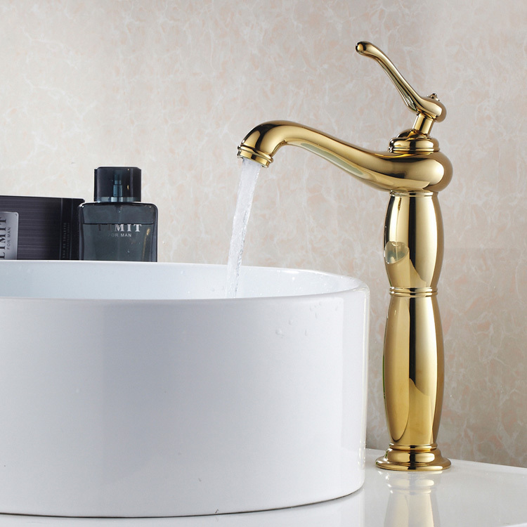 FREE SHIPPING Gold Plated Brass Basin Faucet Hot And Cold Basin Mixer Single Hole Water Tap Gold Faucet torneira banheiro hpb smooth surface tall brass bathroom basin faucet hot and cold water single hole sink tap mixer torneira hp3131
