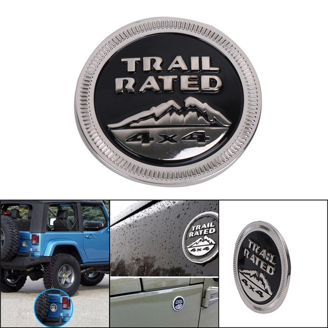 3D Metal Solid Steel Sticker Emblem Badge For Jeep Wrangler Logo Trail  Rated 4X4 Fender Truck