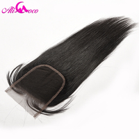 Ali Coco Hair Brazilian Lace Closure With Baby Hair 4 4 Free Part Human Hair With
