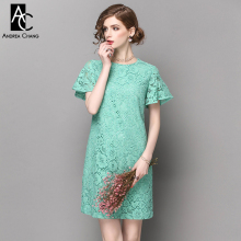 spring summer runway designer womans dresses pink green high quality lace dress butterfly sleeve fashion vintage straight dress