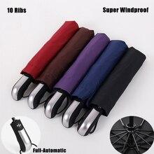 10 ребер Бизнес Для мужчин Для женщин Солнечный дождливый модные полностью автоматический складной Anti UV ветрозащитный высокое качество зонтик Мода