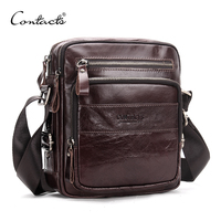 CONTACT'S Genuine Leather Men Shoulder Bags Small Travel Crossbody Bag Men's Casual Messenger Bags Man's Bolso Luxury Brand Bag