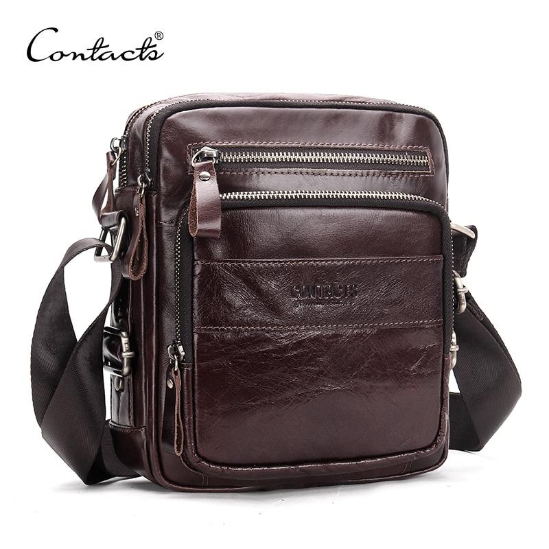 CONTACT'S sacs à bandoulière en cuir véritable pour hommes petit sac à bandoulière de voyage sacs messager décontracté és pour hommes sac de marque de luxe Bolso pour homme