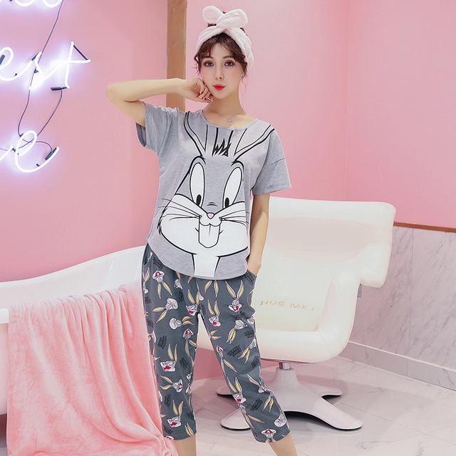 Women Clothes for Summer Pajamas Sets O-Neck Sleepwear Lovely Rabbit Pijamas  Mujer Short Sleeve Cotton Sexy Pyjamas Female a2496d34a