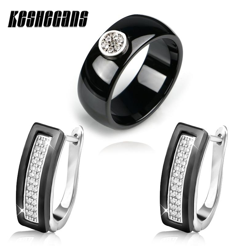 Classic Black White Ceramic Set Steel U Shape Crystal Earrings And 8.3mm Ceramic Rings With Shining Rhinestone For Women Jewelry