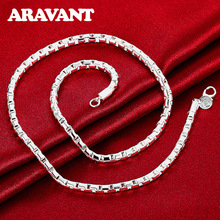 925 Jewelry Unisex Box Chains Necklace For Women&Men Fashion Top Quality Silver Plated Necklaces Jewelry unisex necklaces 925 silver lobster clasp necklaces for women men fashion jewelry