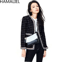 HAMALIEL Women Tweed Jacket Coat New 2018 Autumn Winter Classic Plaid Single Breasted Long Sleeve Sweet Aristocratic Outerwear