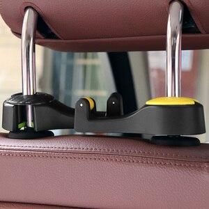 Image 5 - 2 in 1 Car Headrest Hook with Phone Holder Seat Back Hanger for Bag Handbag Purse Grocery Cloth Foldble Clips Organizer