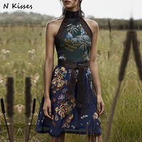naughtykisses 2017 summer female collar sleeveless costly manual nail bead belt embroidered flowers beach dress holiday dress