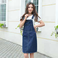 Summer Women Denim Dress Sundress 2018 Casual Loose Overalls Dresses Female Solid Adjustable Strap Jeans Dress Plus Size 4XL