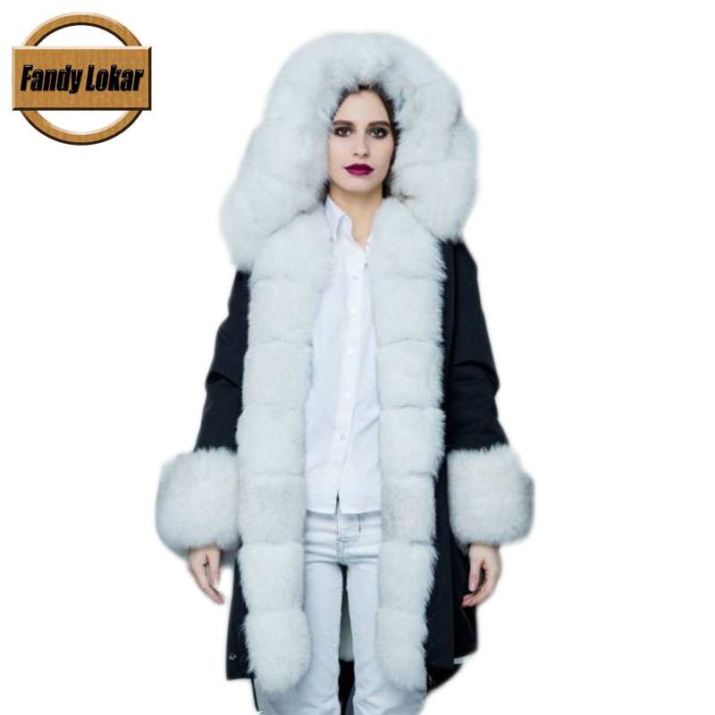 Fandy Lokar FL Fur Parka Winter Women Jacket Fashion Genuine Fox With Real Rabbit Lining Warm Coats Ladies