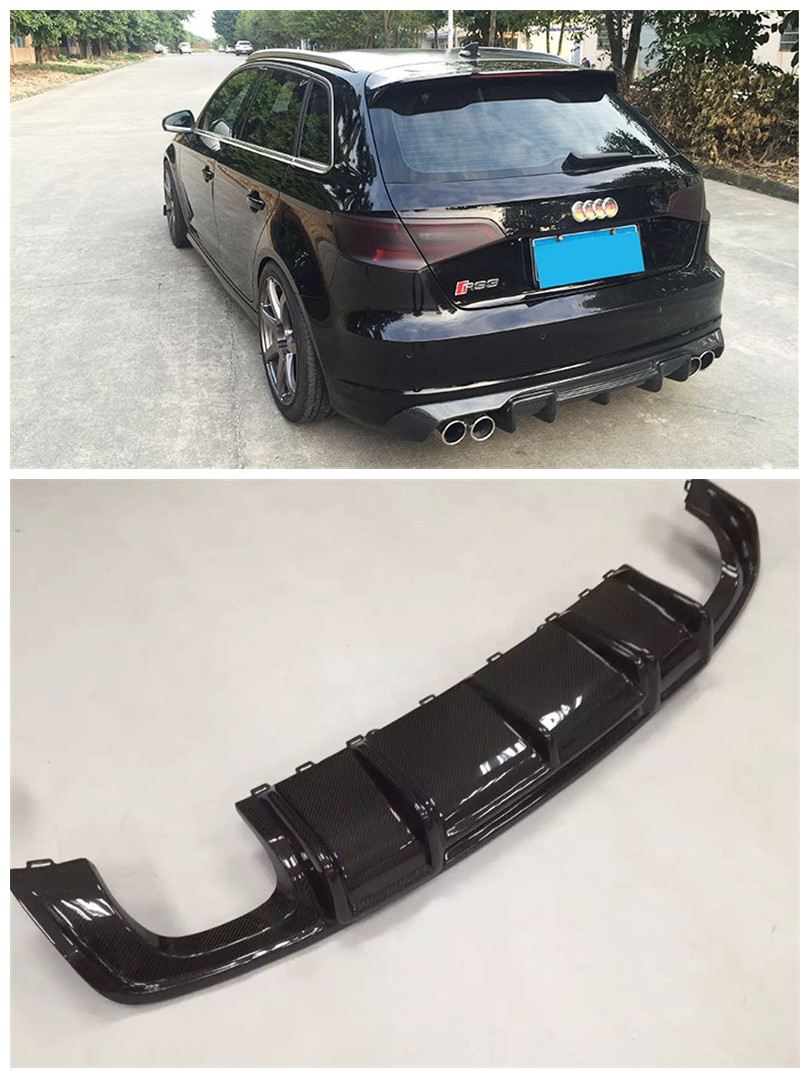 For <font><b>Audi</b></font> <font><b>A3</b></font> S3 RS3 Sportback 2014 2015 <font><b>2016</b></font> 2017 Carbon Fiber <font><b>Rear</b></font> Lip Spoiler Bumper <font><b>Diffuser</b></font> Auto Accessories image
