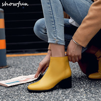 size 34 40 women's genuine leather med heel autumn ankle boots brand designer yellow square toe short booties shoes for women
