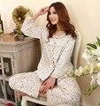 Promoção limitada Freeshipping Pijama Feminino Pijama para mulheres mulheres roupa de dormir Cardigan Pijama de algodão bonito terno