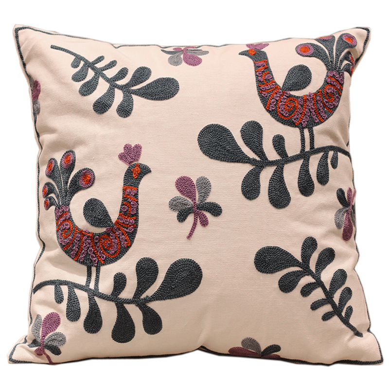 Cute Birds 100 Cotton Embroidery Sofa Cushion Covers White Trendy Designer Interior Decoration