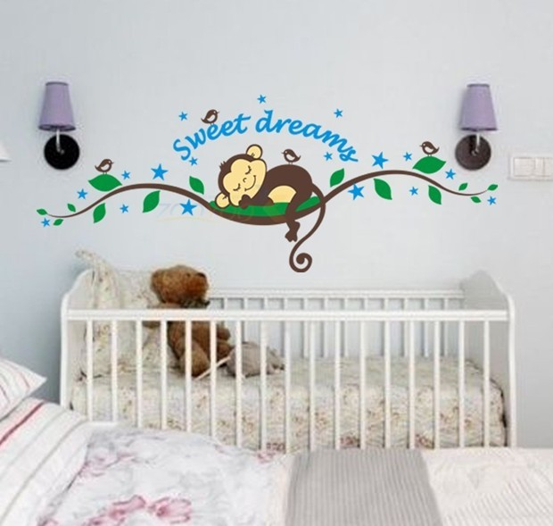 Cartoon Dream Baby Monkey Wall Stickers Tree Decals For Kids Rooms Home Decoration Nursery