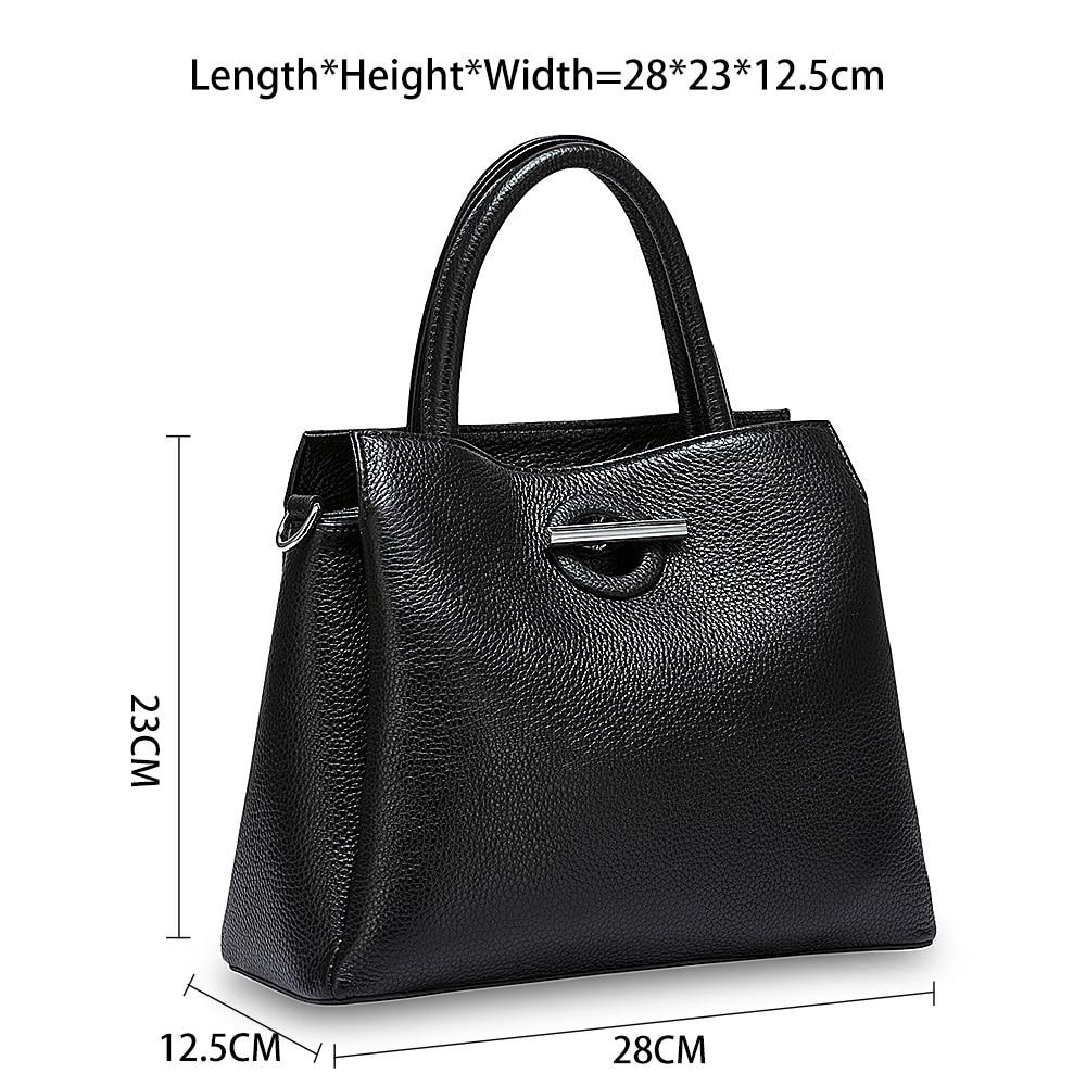 Zency moda mujer bolso de mano 100% cuero genuino Bolso Negro señora bandolera bolso de hombro de alta calidad-in Cubos from Maletas y bolsas    3