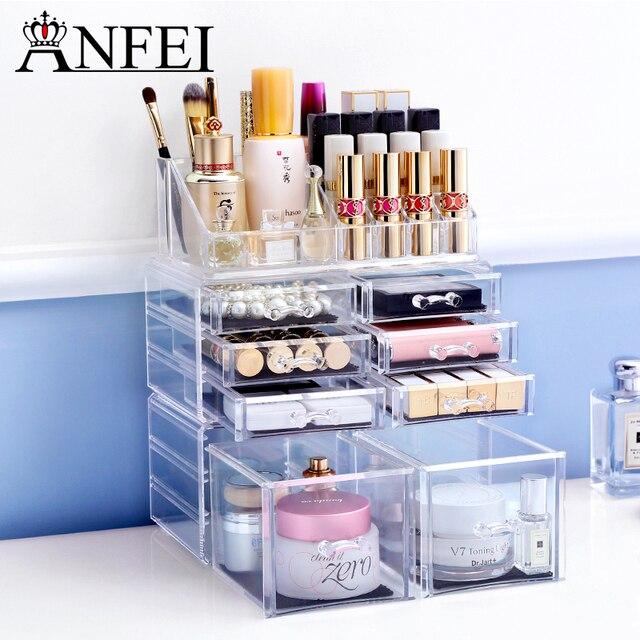 ANFEI Best Selling Large Jewelry Box Drawers Acrylic Cosmetic Organizer  Glossy Makeup Organizer Drawers Organizer C198