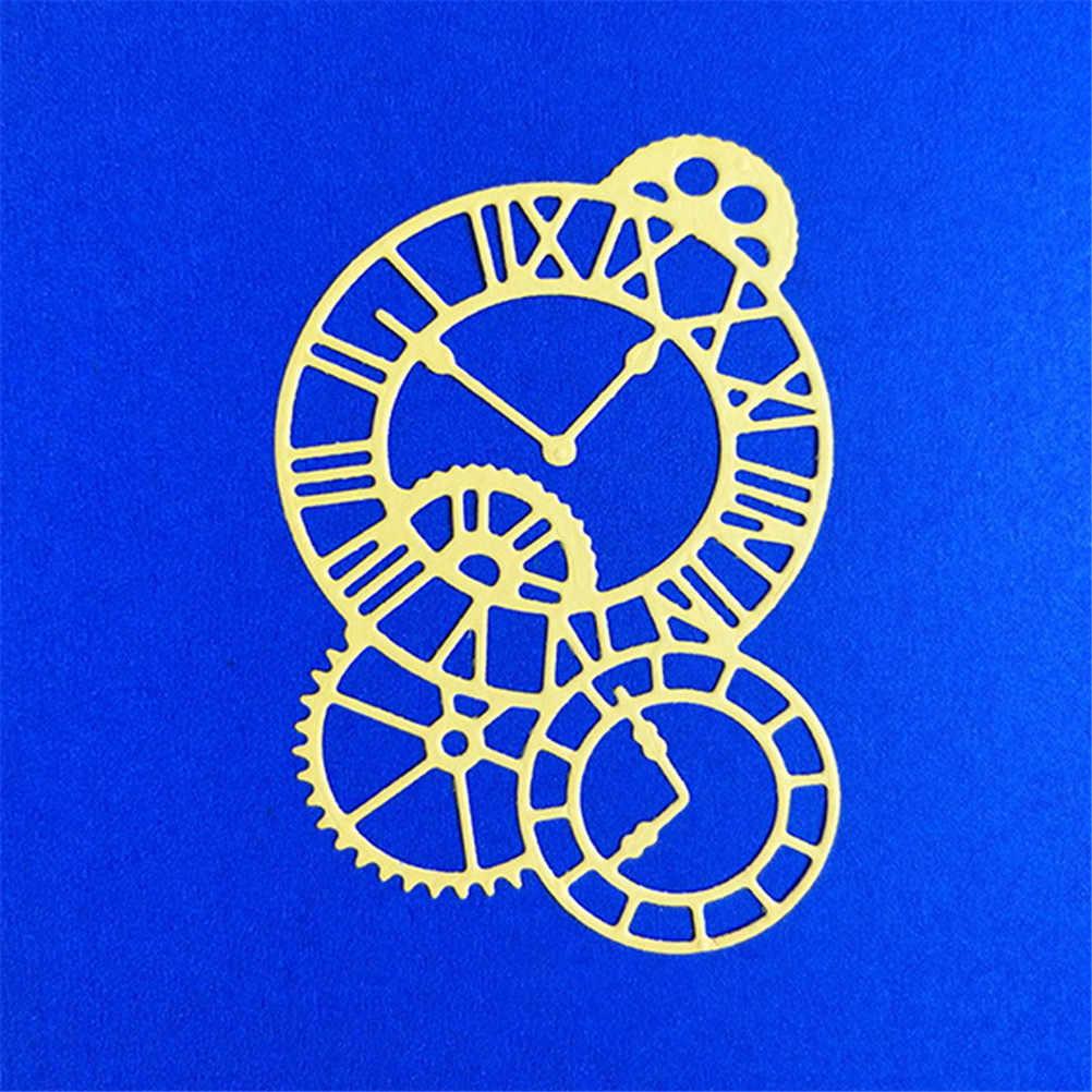 1 Pcs นาฬิกาเวลาแกนโลหะตัด Dies Stencil Scrapbooking Photo Album กระดาษการ์ด Embossing CRAFT DIY