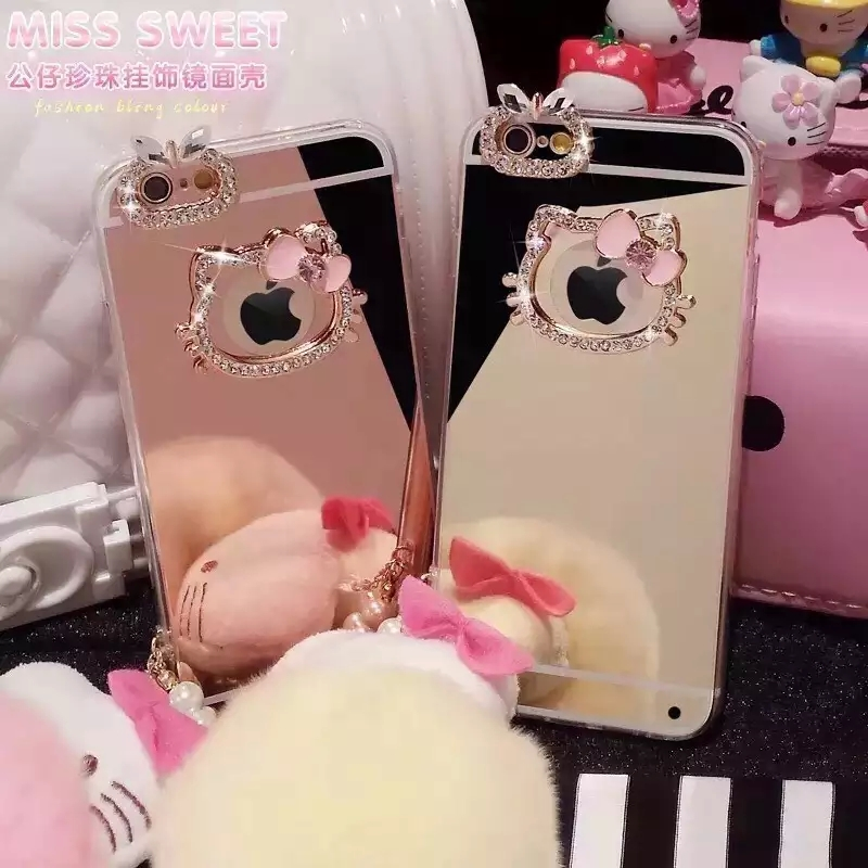 Casos de lujo hello kitty espejo rhinestone case para iphone 6 5S 5 6 s 6 plus p