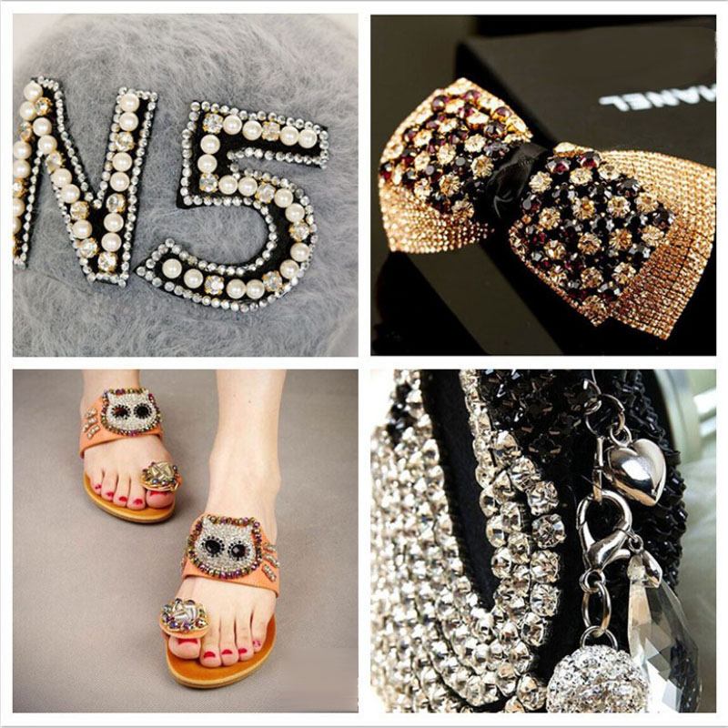 SS6 8 10 12 10m All Size Crystal AB Rhinestone Cup chain Silver Setting Costume Applique Trims Sewing On Garment Rhinestones in Rhinestones from Home Garden