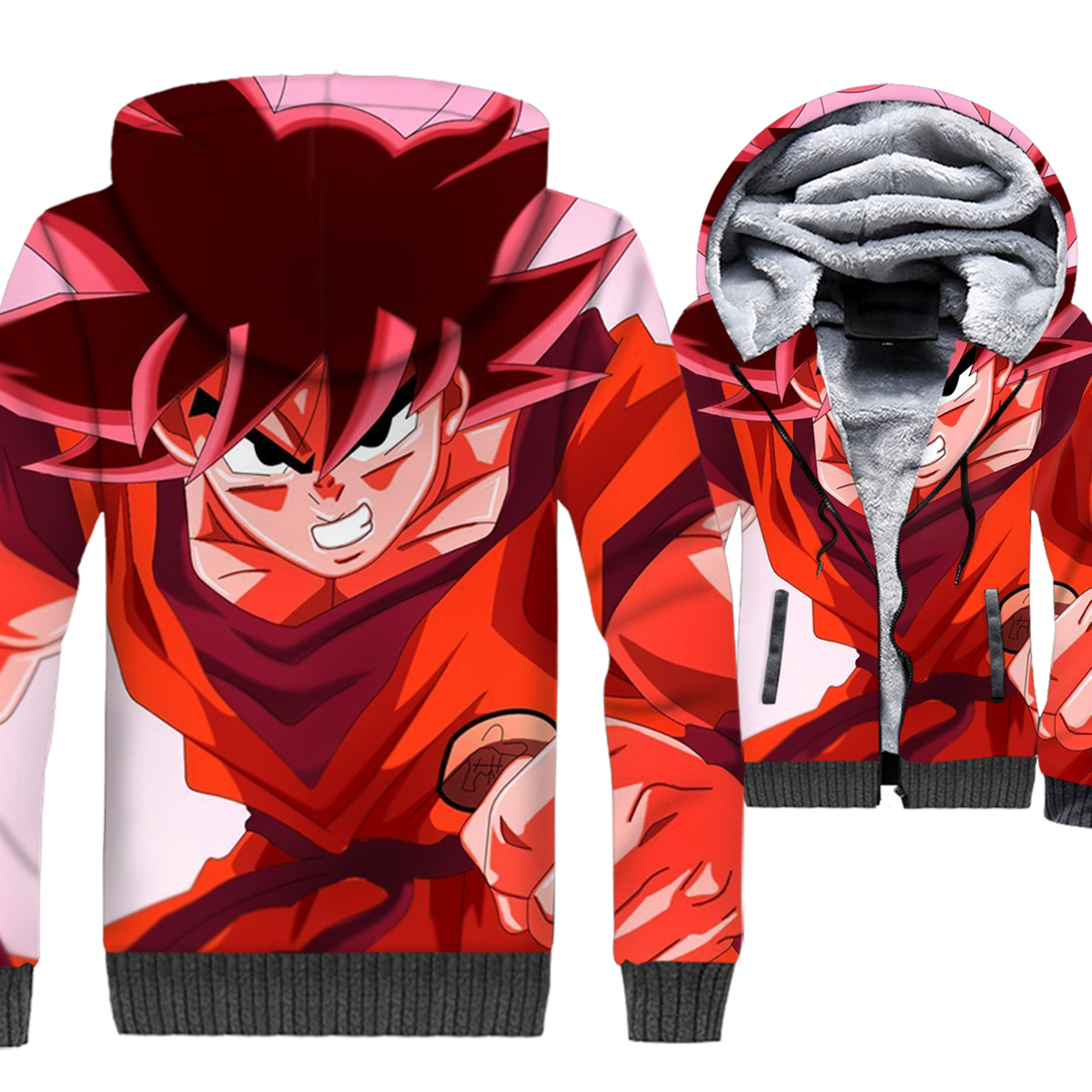 Anime Dragon Ball Gohan 3D Hoodies Men Super Saiyan Sweatshirts Winter Thick Fleece Warm Coat Vegeta Jackets Harajuku Steetwear