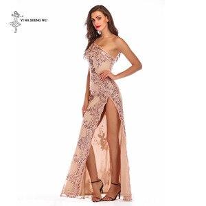Image 2 - Robe longue sexy à paillettes pour adultes, à bretelles dénudées, robe longue fendue, bretelles dénudées, longue danse, salle de bal, queue de poisson