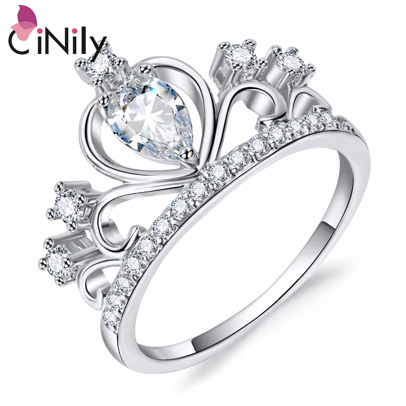 Cinily Wholesale Jewelry Wedding-Ring White-Stone Rose-Gold-Color Silver Cubic-Zirconia