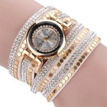 7 Colours Girls Women Stylish Leather-based Blocks Embellished Diamond Trend Bracelet Quartz Watches Relogio Feminino Massive Low cost
