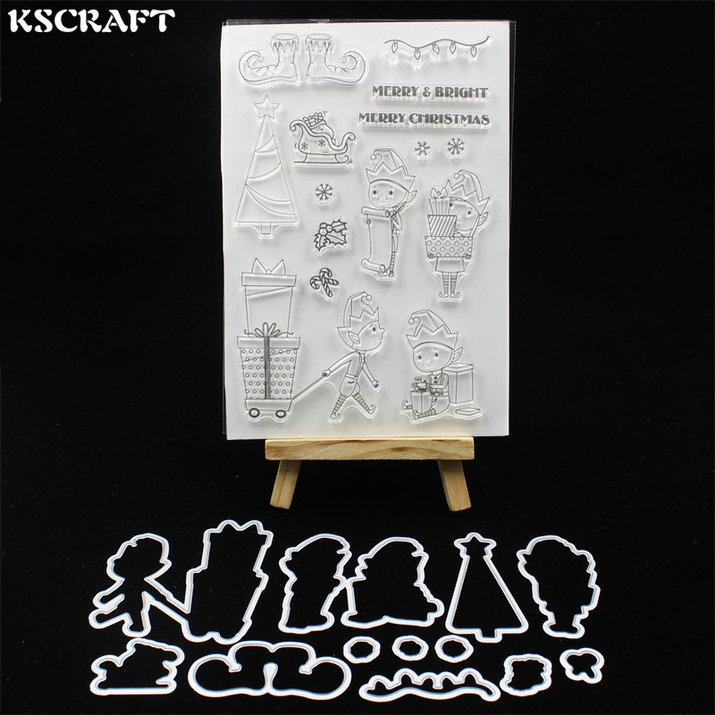 KSCRAFT Christmas Elf Transparent Clear Silicone Stamp Cutting Dies Set for DIY scrapbooking/photo album Decorative lovely animals and ballon design transparent clear silicone stamp for diy scrapbooking photo album clear stamp cl 278