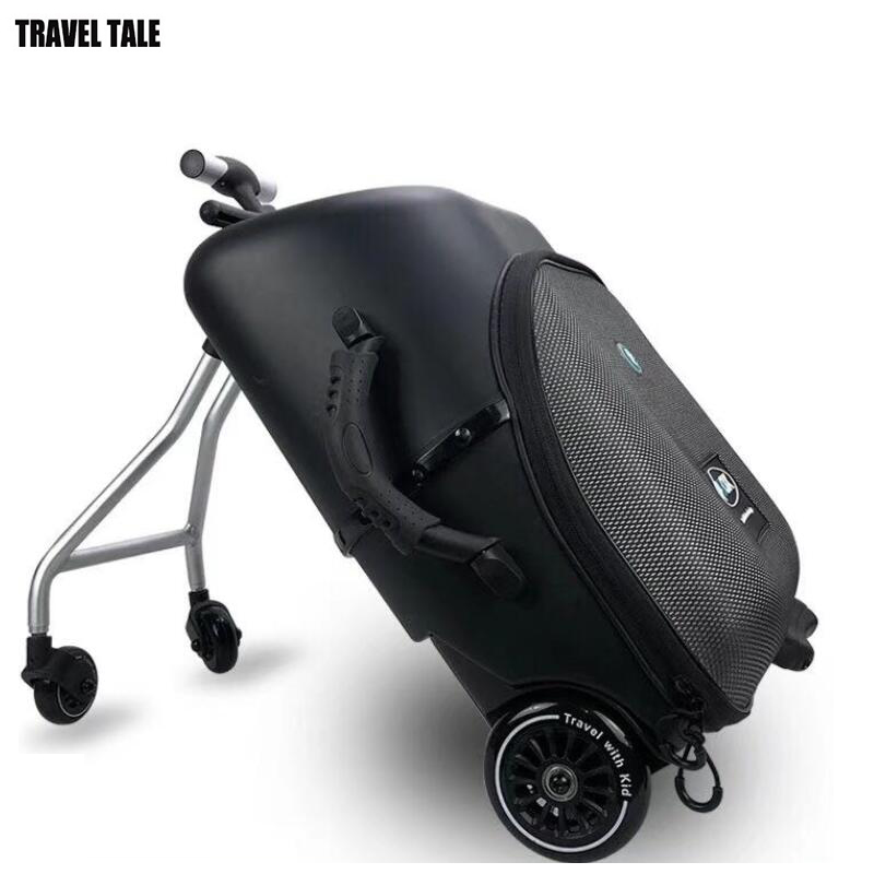 TRAVE TALE 19 carry on luggage trolley kids sit on scooter travel suitcase Lazy trolley case