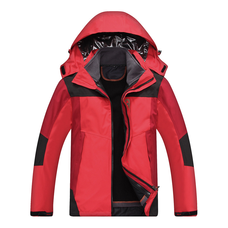 2019 Winter Men Outdoor 3 in 1 Soft shell Jackets Two-piece Removable Thermal Waterproof Windproof Coat Hiking Climbing Jackets