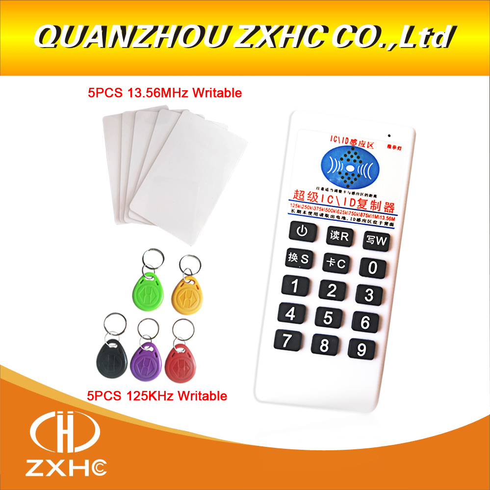New RFID 125khz ID 13.56mhz IC Copier Reader Writer for EM4305 T5577 UID Changeable Tag 5pcs ic id uid 13 56mhz changeable writable rewritable composite key tags keyfob dual chip frequency rfid 125khz t5577 em4305