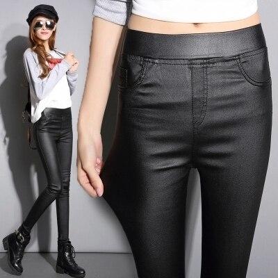 Черный ПУ имитация искусственной кожи натяжные брюки 2016 Осень Slims леггинсы высокой талией брюки женщины плюс бархат flare длинные пант