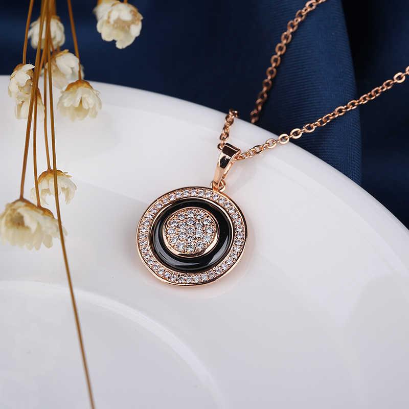 Collares colgantes círculo de oro rosa Vintage 585 para mujer, collar moderno y saludable de cerámica, elegante regalo de joyería