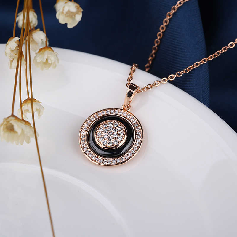 Vintage 585 rosa ouro círculo pingente colares para as mulheres moda austrália colar feito saudável cerâmica declaração jóias presente