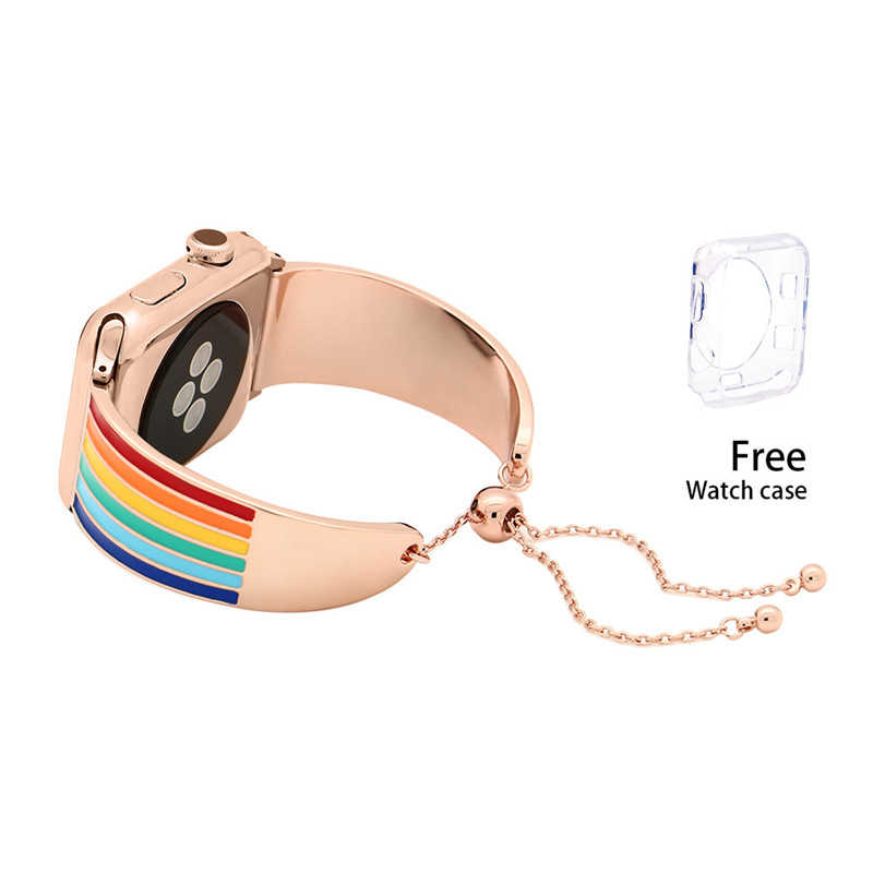 Charm  Rainbow Color Watchbans For iwatch Women 38mm 42mm Stainless Steel Apple Watch Strap Replacement Watch Band Adjustable