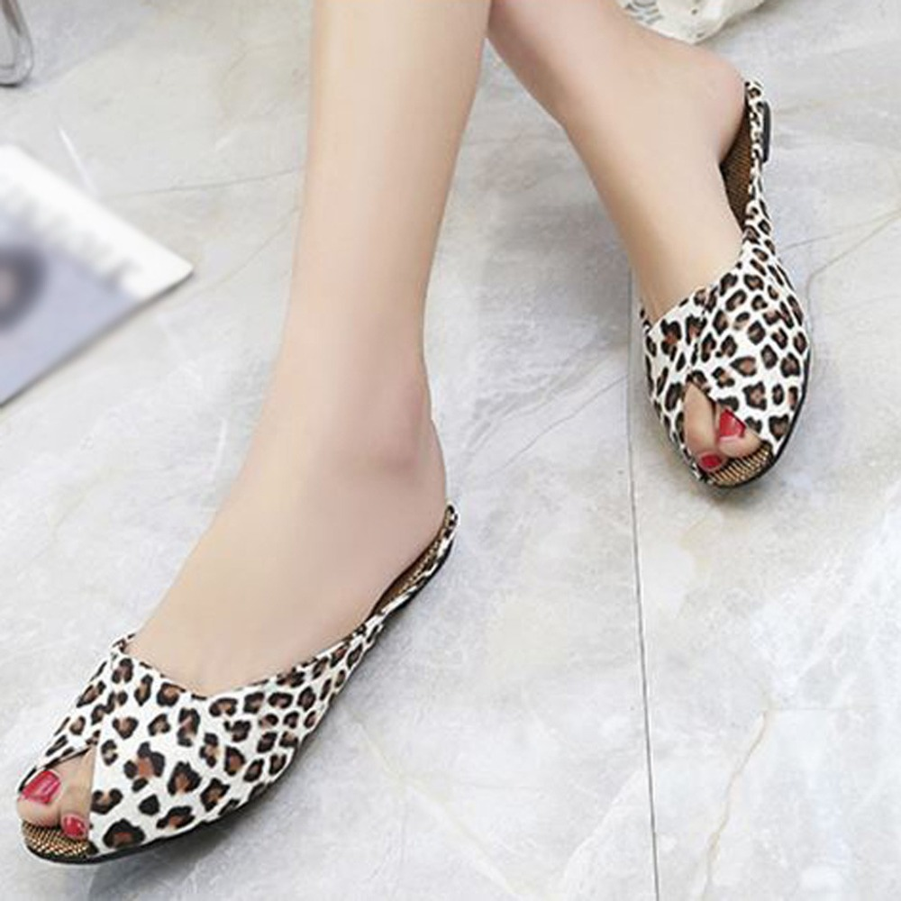 Leopard Sandals Heel-Shoes Fish-Mouth Fashion Women's New Casual 9 Square