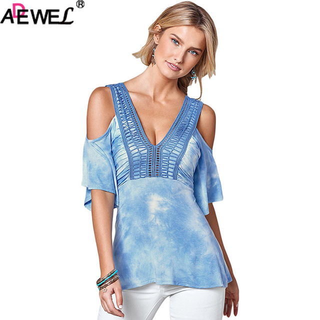 d47889090ccc8 ADEWEL Sexy Cold Shoulder Crochet V Neck Womens Tops And Blouses Tie Dye  Blue Pink Short Sleeve Summer Top LadiesTops Plus Size