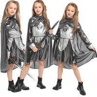 Kids Princess Armor Warrior Knight Girl Costume Halloween Christmas Carnival Cos Fancy Dress Children Cosplay Clothes