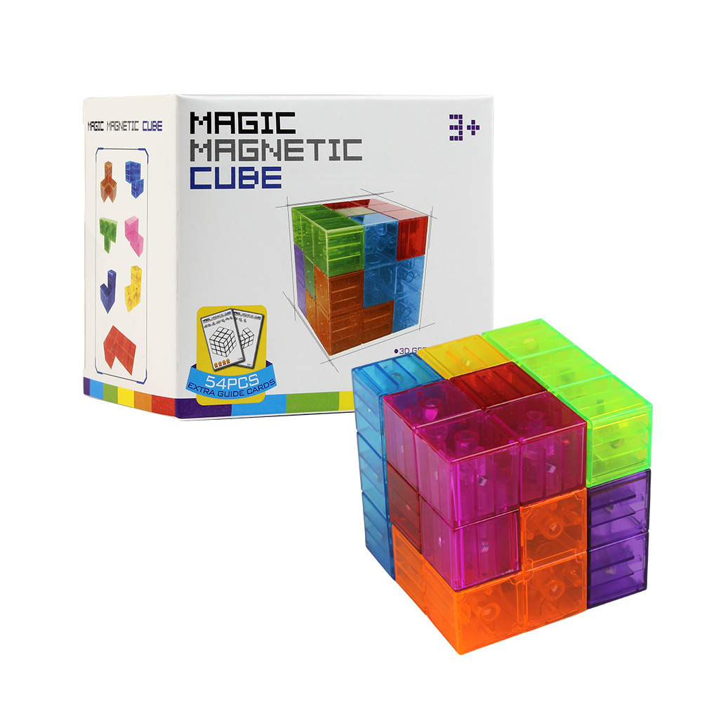 Toy Magnetic Cube Building Blocks 3D Magnet Tile 7Pcs Set Puzzle Speed Cube with 54pcs Guide Cards IntelligenceToys For Children