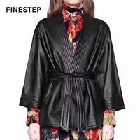 2018 осенняя куртка пальто Для женщин кожаная куртка Демисезонный черный Для женщин s куртка с кристаллами