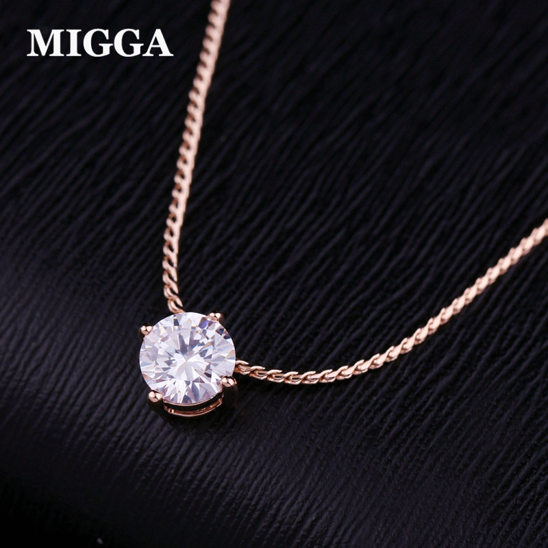 MIGGA Shining Prong Setting Cubic Zirconia Crystal Necklace Chain Choker Rose Gold Color Woman Jewelry