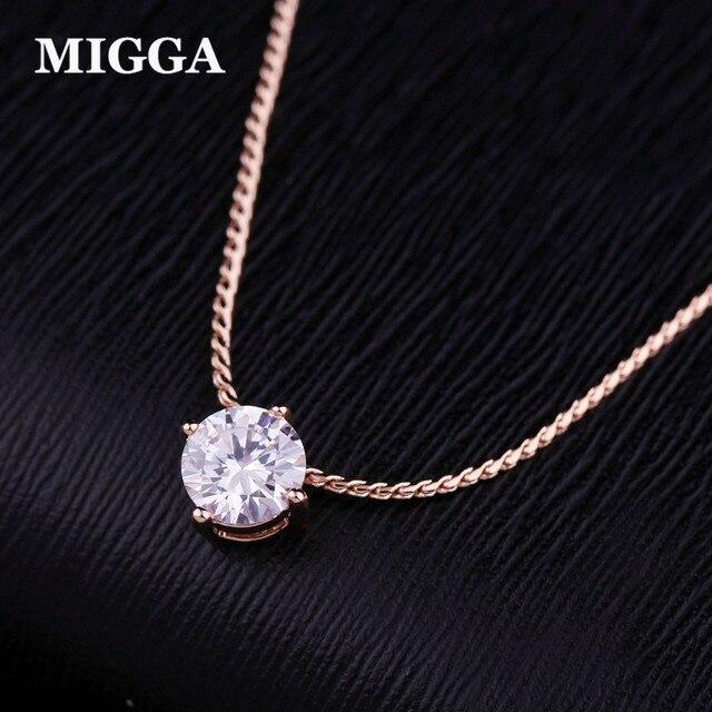 MIGGA Shining Prong Setting Cubic Zirconia Crystal Necklace Chain Choker Rose Go