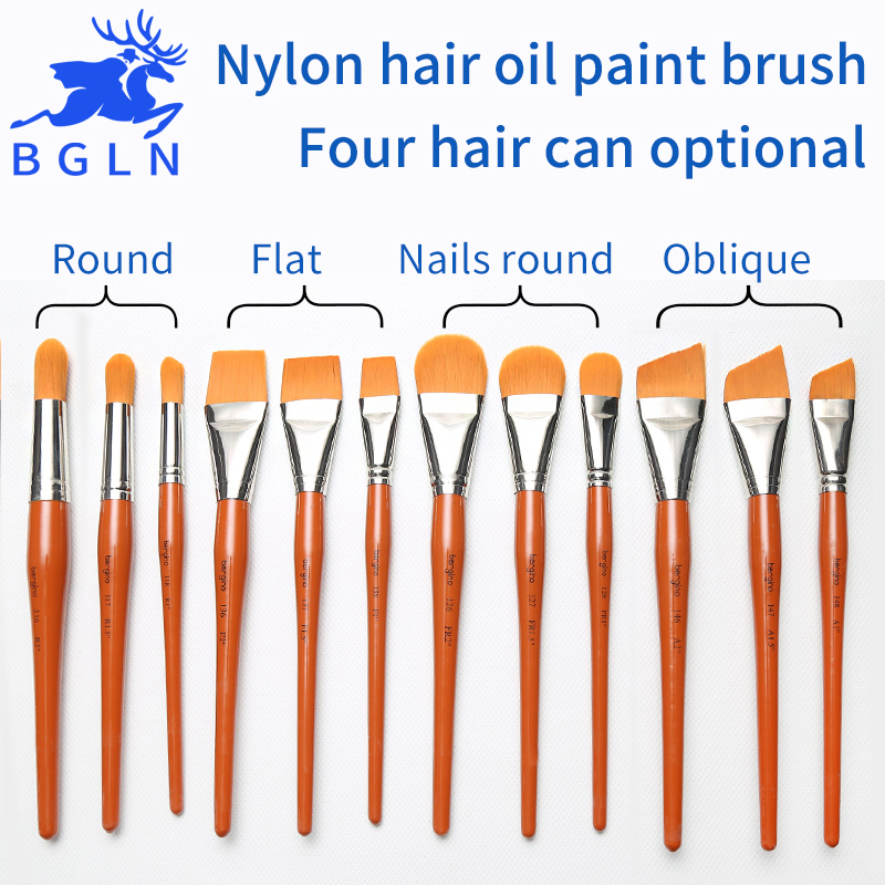 1Piece Super Quality Nylon Hair Oil Paint Brush Nails Round/Flat/Oblique Oil Painting Brush For Acrylic Painting Art Supplies zhuting 5pcs nylon hair paint brush